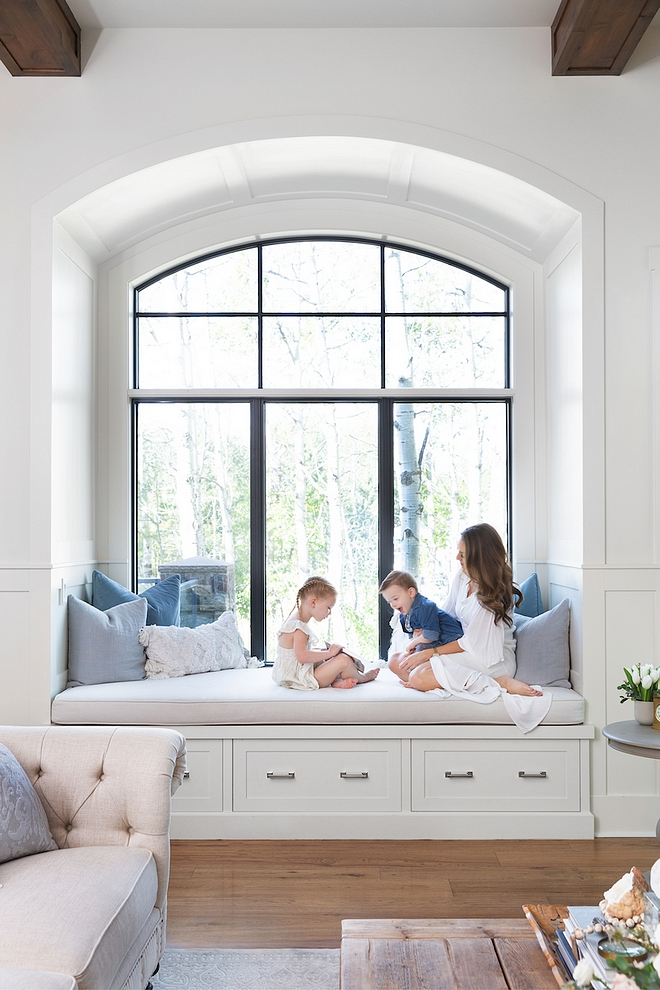 Arched window seat The arched window seat is one of our most common family hang out spots, and has large drawers underneath for toy storage Arched window seat #Archedwindowseat #windowseat