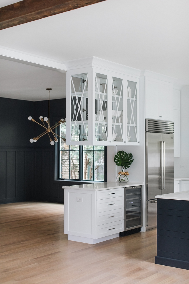 "Kitchen Beverage Cabinet This beverage center can also be used as ""butler's pantry"" since it opens the dining room Practical and economical idea #Kitchen #Beveragecenter #beverageCabinet"