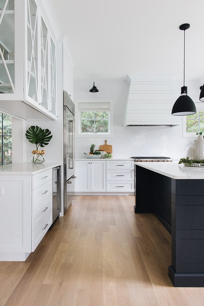 Kitchen cabinet is Maple, custom with shaker-style doors with custom shiplap tapered kitchen hood #Kitchencabinet #Maplekitchencabinet #shakerstyle #kitchencabinetdoors
