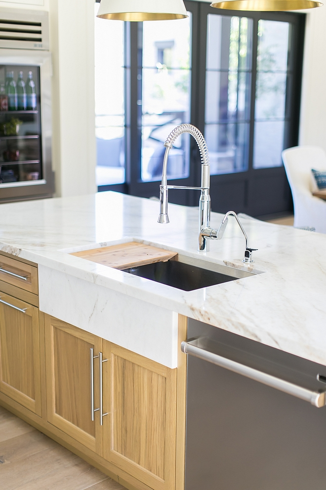 """Kitchen Countertop is Calacutta Umber marble - Honed Kitchen Sink is stainless steel but the designer added a marble slab to add the """"apron sink"""" look without having to compromise on having a more durable stainless steel sink #kitchen #kitchencountertop #kitchensink"""