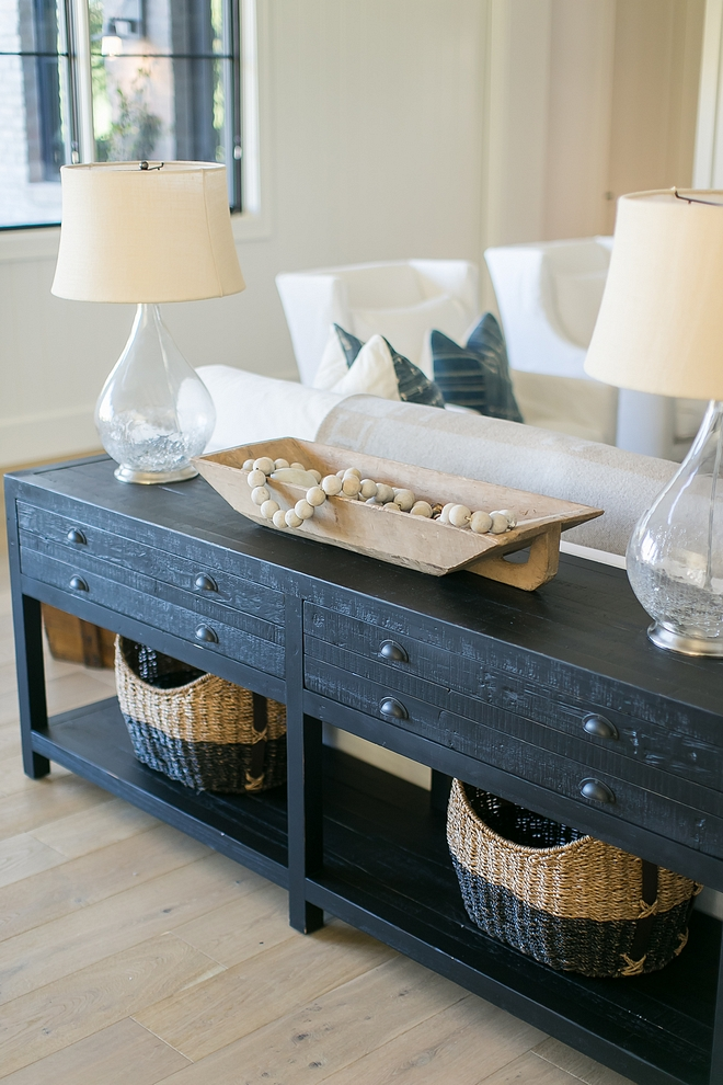 Rustic Console Table Crafted of distressed solid pine, the pieces are accented with rustic cast bin pulls console table #consoletable