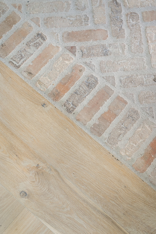 Brick installed in Herringbone pattern with a soldier course border. The brick flooring by Marvel Building & Masonry Supply #brick #herringbone