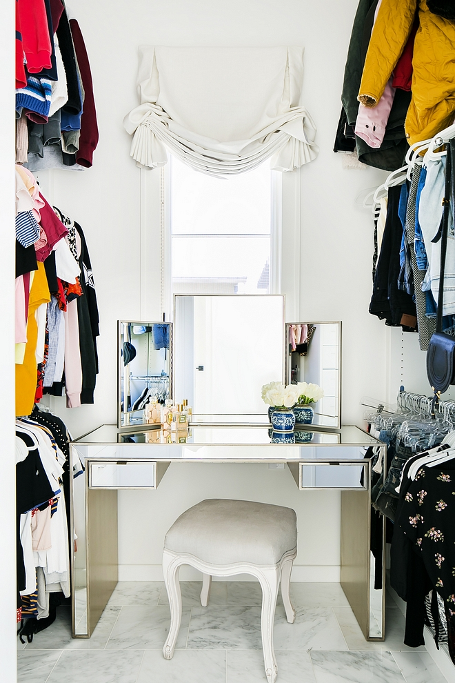Walk-in Closet with mirrored vanity