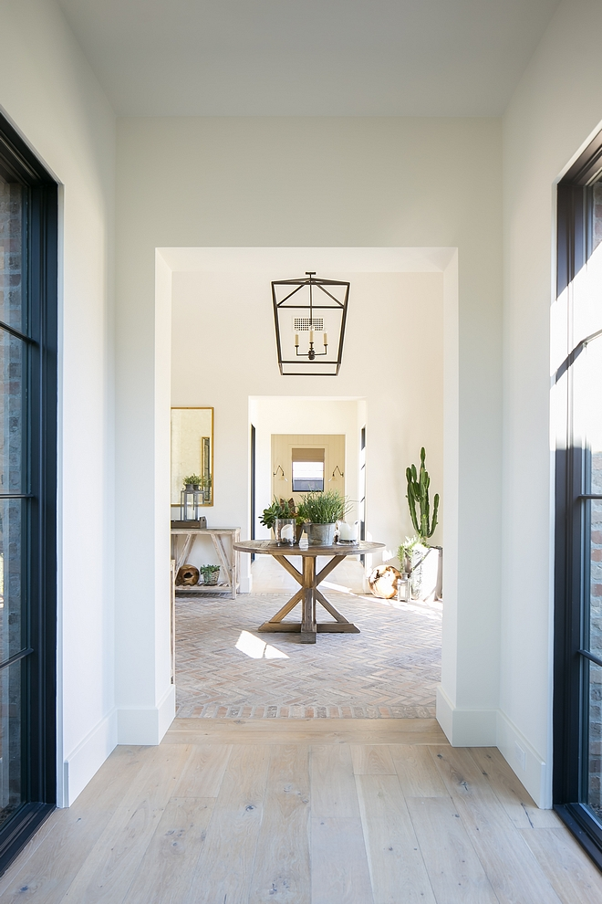 Benjamin Moore White Dove with white oak and herringbone brick flooring Benjamin Moore White Dove walls and trim Benjamin Moore White Dove #BenjaminMooreWhiteDove #BenjaminMoore #WhiteDove
