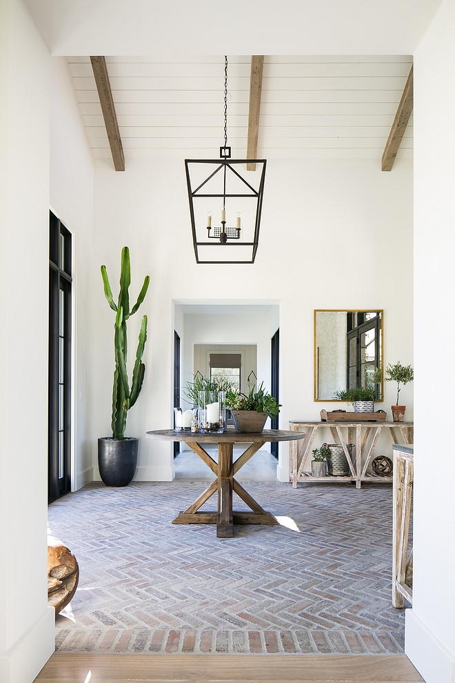 Brick Flooring Foyer Brick flooring The home's exterior brick was used for interior entry flooring to further marry the indoor/outdoor feel #BrickFlooring #Foyer #Brick #flooring