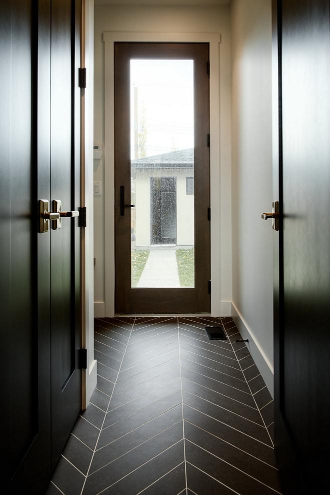 Mudroom Floor Tile 6x24 black porcelain tile in chevron pattern Mudroom Floor Tile Affordable Mudroom Floor Tile Mudroom Floor Tile #MudroomFloorTile #Mudroom #FloorTile #MudroomTile
