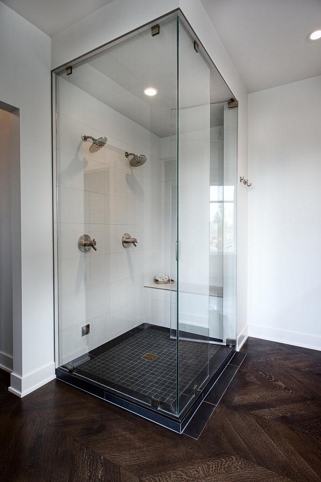 Shower Tile 12x24 porcelain tiles for walls and ceiling of the steam shower, 2x2 black mosaic for shower base #showertile #shower #tile