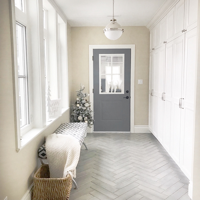 Mudroom Christmas decor Keeping with the less is more theme, my mudroom has a tiny flocked gold and silver decorated tree that I found at HomeSense Canada a few years ago #mudroom #Christmas