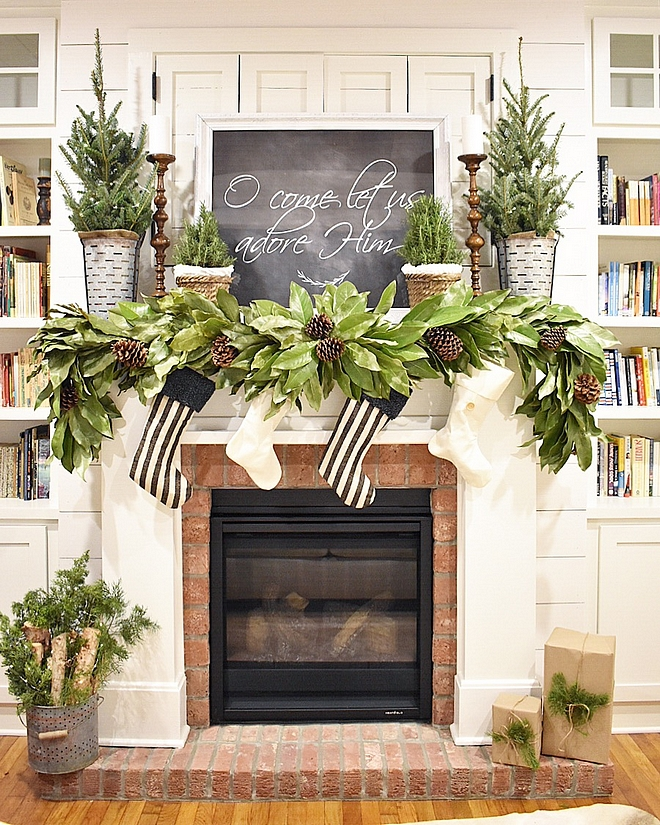 Magnolia and pine cone garland Christmas mantel with Magnolia and pine cone garland Magnolia and pine cone garland #Magnoliagarland #pinecone #garland