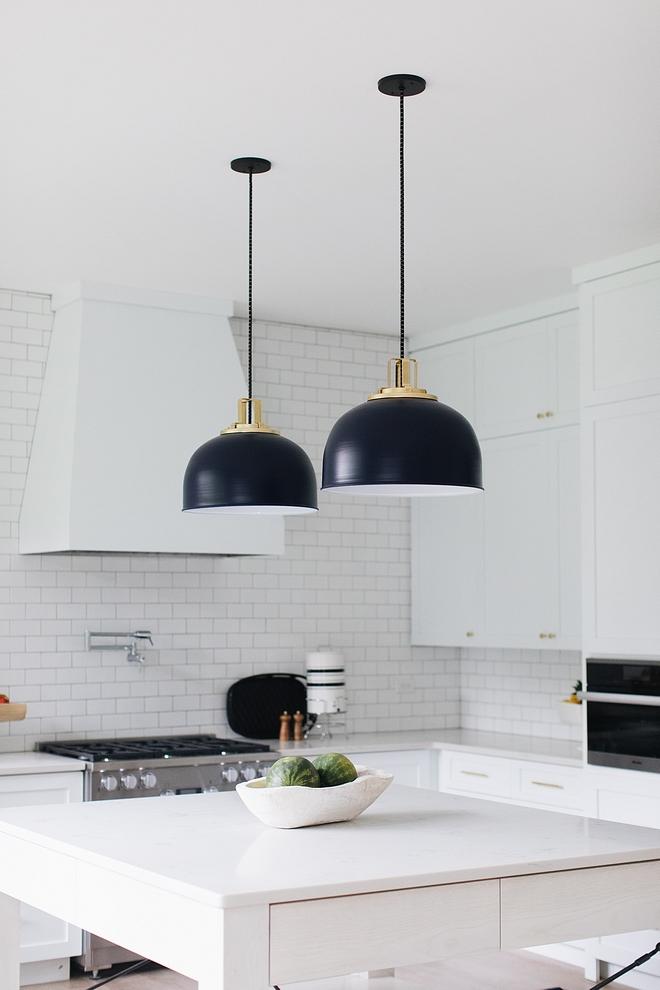 Dome Pendant Black Dome Pendant White kitchen with Black Dome Pendant #DomePendant #blackDomePendant