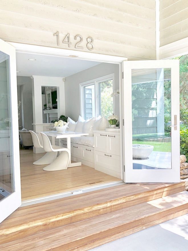 Home Reno Small Ideas that make a big difference Near the built in window was an old slider that we removed and replaced with two glass atrium doors that open outward, to give us more room in the kitchen, onto the patio #homereno
