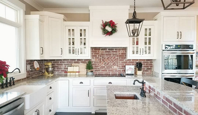 """Kitchen Christmas Ideas The kitchen is the only space in our home that can truly be slated as """"simple"""" and practical when it comes to decorating for Christmas. I still add a few elements & pops of red to compliment the brick backsplash, but that's just about it Kitchen Christmas #KitchenChristmas #KitchenChristmasdecor"""
