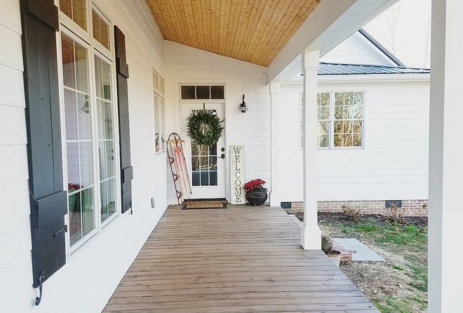 Sherwin Williams Tricorn Black SW 6258 We handmade our own shutters out of 1 x 6 pine and are painted Sherwin Williams Tricorn Black SW 6258 - extra satin Sherwin Williams Tricorn Black SW 6258 #SherwinWilliamsTricornBlack #SW6258
