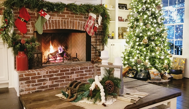 The arched brick fireplace using the same General Shale Old Louisville Tudor thin brick