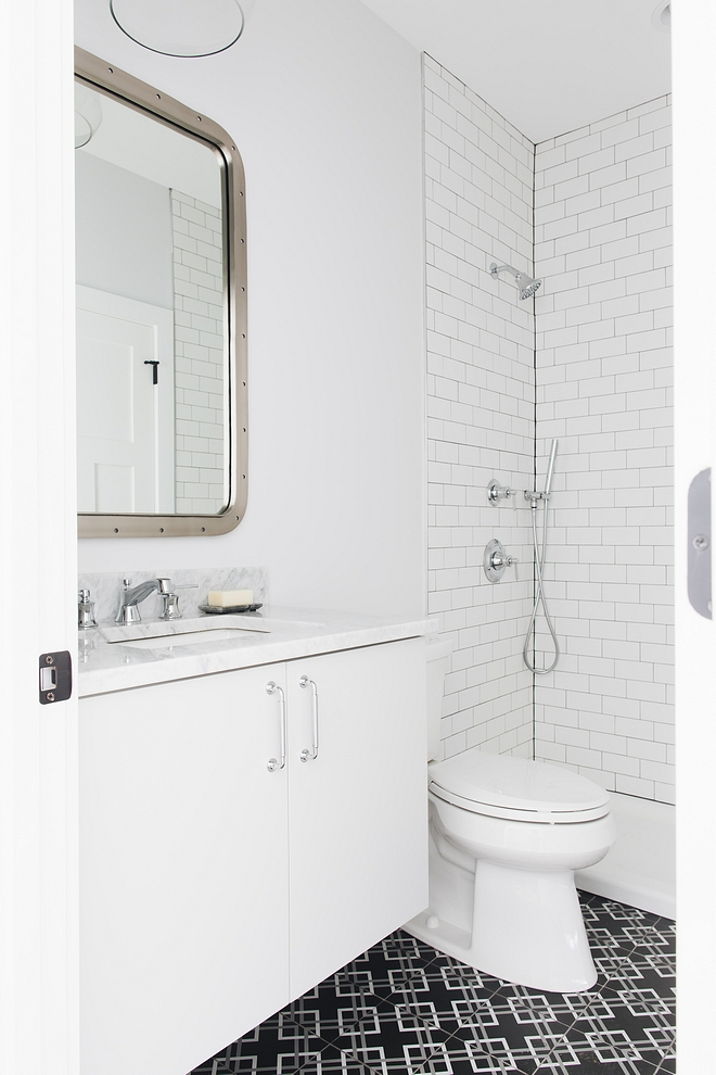Transitional bathroom design Transitional bathroom design with black and white cement tile #Transitionalbathroomdesign #cementtile