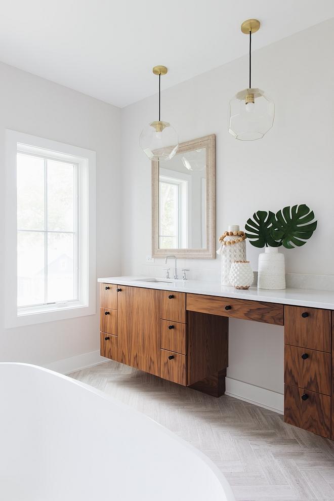 Bathroom Walnut vanity with herringbone tile Beautiful master bathroom Bathroom Walnut vanity with herringbone tile #Bathroom #Walnutvanity #herringbonetile