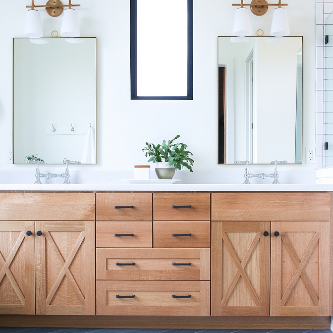 Bathroom cabinetry features x door insets and the material is White oak with no stain - just clear protective finish Bathroom cabinetry features x door insets and the material is White oak with no stain - just clear protective finish #Bathroomcabinetry #xcabinetdoor #xinsets #Whiteoakcabinetwithnostain
