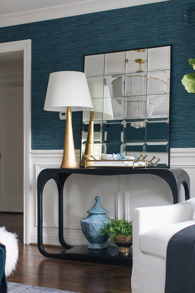 Black console table with multi panel mirror #Blackconsoletable #consoletable #multipanelmirror