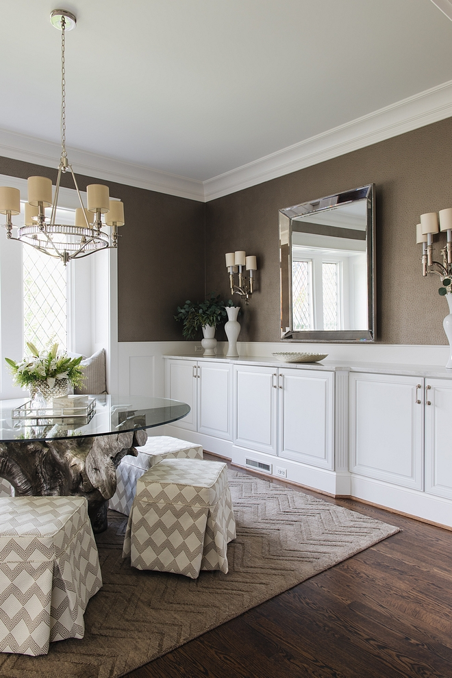Custom Buffet with Marble top is the most used area when we entertain I use stock cabinetry rather than full custom but I was able to give it a custom feel by adding fluted moldings and pulling out the center Dining room with custom buffet with marble top #diningroom #buffet