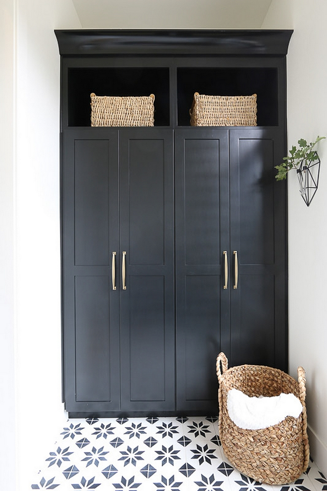 Black Cabinet Mudroom with black cabinet and black and white cement tile Black Cabinet Mudroom Black Cabinet Mudroom Black Cabinet Mudroom Black Cabinet Mudroom #BlackCabinet #Mudroom