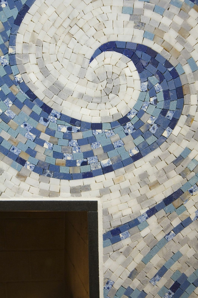 Fireplace Mosaic Tile Ann Sacks Tile and Stone Custom wave mosaic