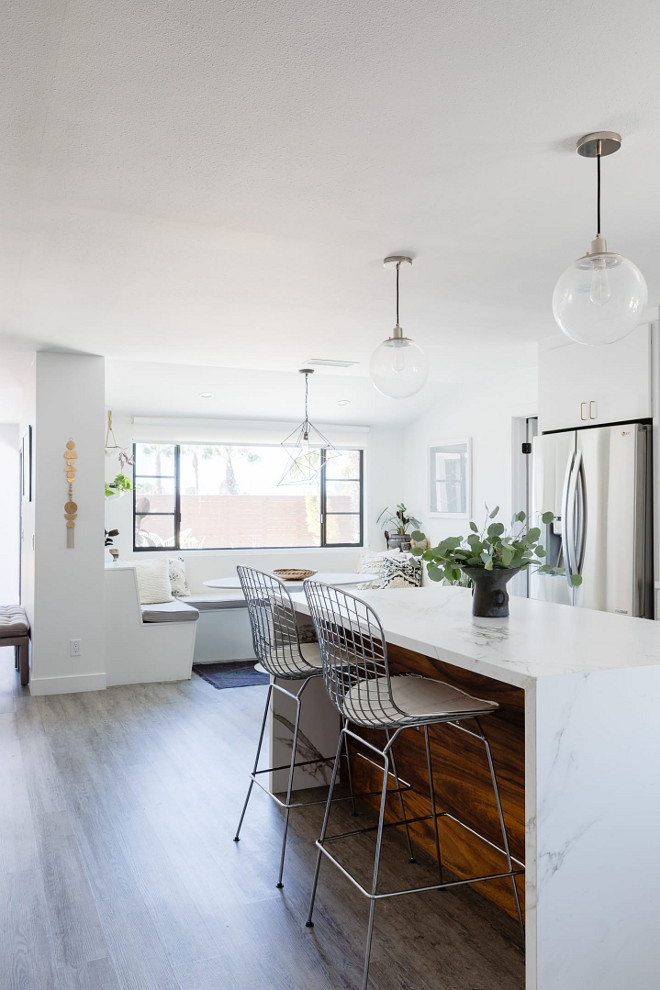 Kitchen Renovation Interior Paint Color: Carrara, Dunn Edwards Barstools are Bertoia Chrome Wire stools #kitchen #paintcolor #Barstools #Wirestools