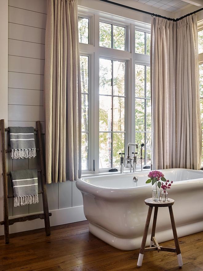 Classic Gray OC-23 by Benjamin Moore Bathroom with shiplap walls painted in Classic Gray OC-23 by Benjamin Moore and hardwood flooring Classic Gray OC-23 by Benjamin Moore #ClassicGrayOC23BenjaminMoore