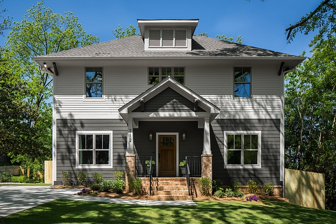Exterior Paint Colors Upper Body Benjamin Moore 861 Shale Lower Body Benjamin Moore 1547 Dragons Breath #benjaminmoore #exterior #paintcolor #BenjaminMooreDragonsBreath #BenjaminMooreShale