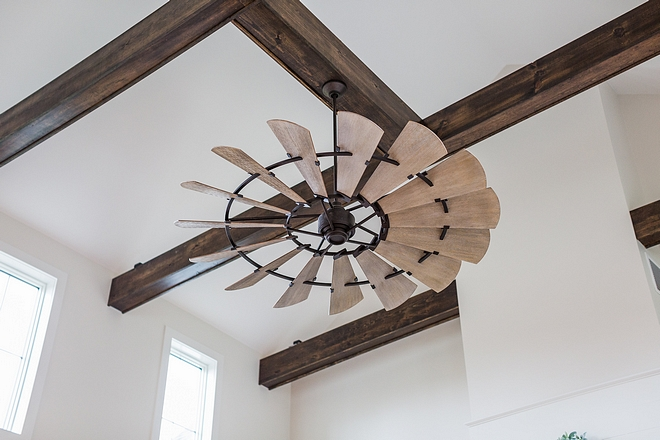 Windmill fan Ceiling features box beams and a windmill-style fan Windmill fan #Windmillfan