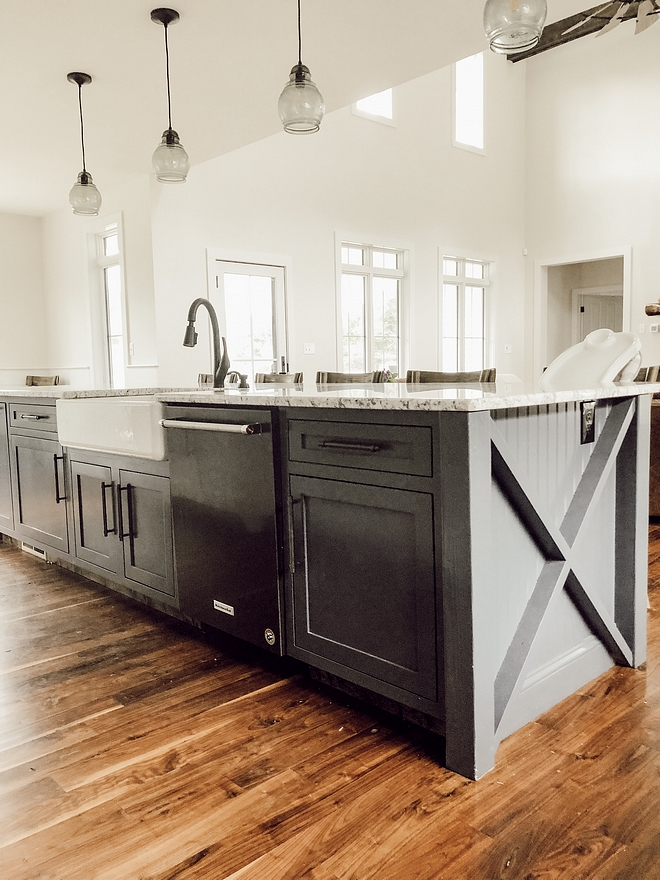 Kitchen island with sink and dishwasher layout