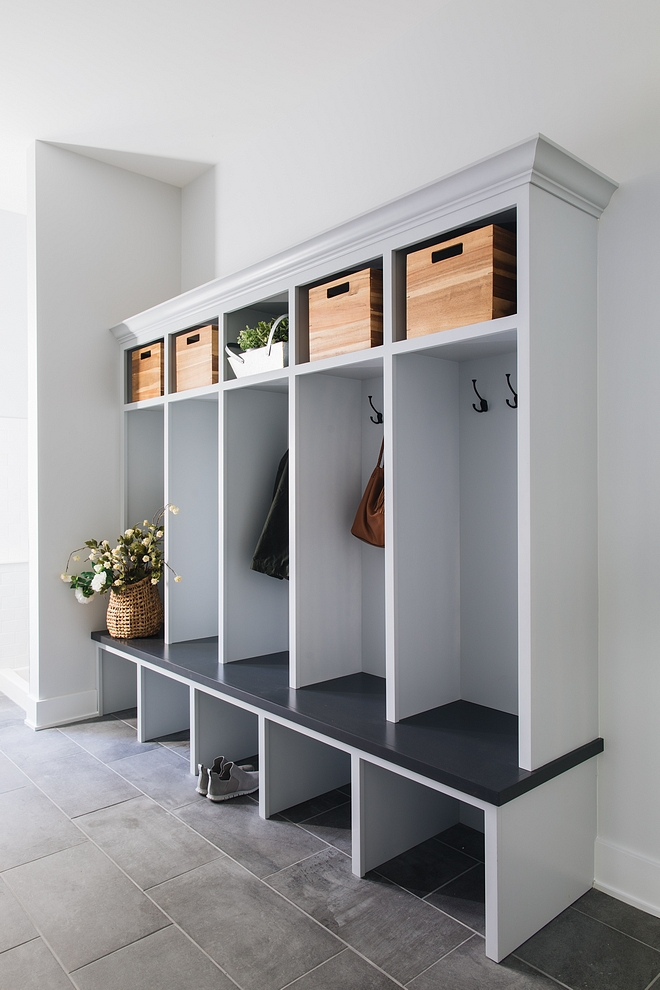 Grey Mudroom Grey mudroom cabinet Grey Lockers Mudroom paint color is Sherwin Williams SW 7070 Site White #greymudroom #greylockers #mudroom #grey #paintcolor #cabinet #greycabinet #greycabinetpaintcolor