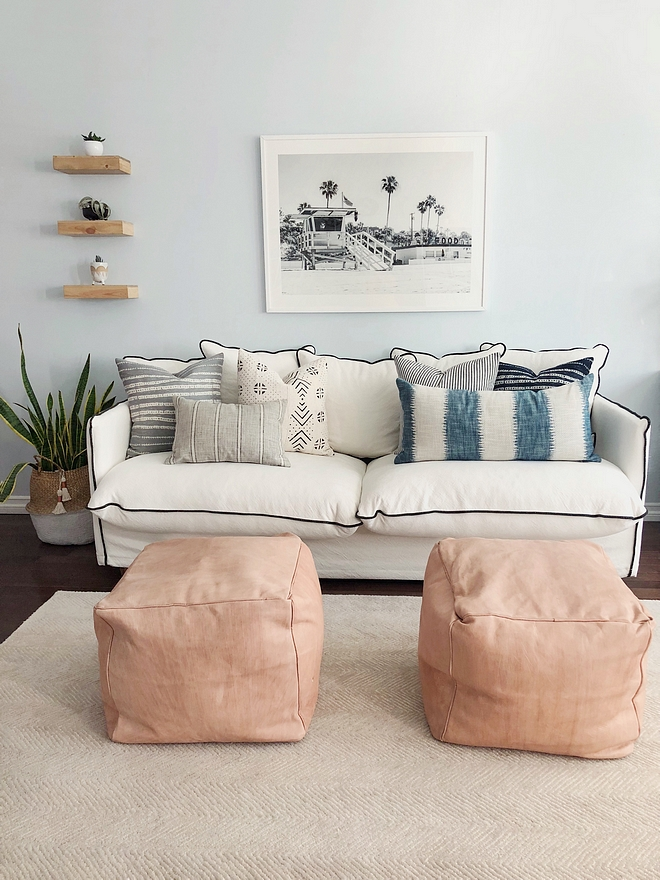 Sofa Ideas Some might think a white sofa and children do not go together. And they would be right! However, I love the crisp look of a white sofa so I chose a slipcover that can be removed and washed #sofas #sofa