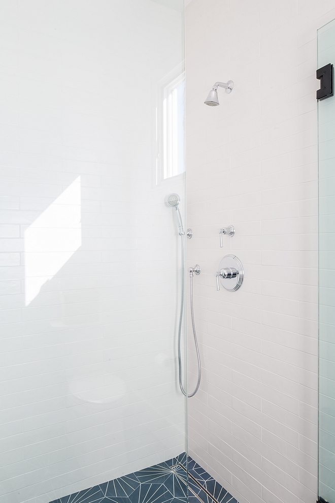 Shower Tiles 2 x 16 matte white porcelain tile with Starburst Hex Cement Tile #ShowerTile