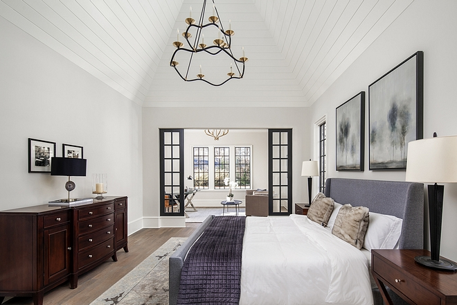 v-groove vaulted ceiling Master bedroom with v-groove vaulted ceiling Ceiling is painted V-groove ceiling trim which looks sleek and clean #vgroovevaultedceiling #Masterbedroom #vgrooveceiling #vaultedceiling