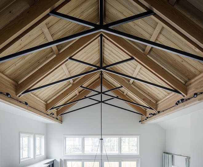 Metal Trusses The cathedral ceiling features metal trusses and Fir beams Ceiling metal trusses Modern farmhouse with metal trusses Metal Trusses The cathedral ceiling features metal trusses and Fir beams Ceiling metal trusses #MetalTrusses #trusses #cathedralceiling #trusses #Firbeams #Ceiling