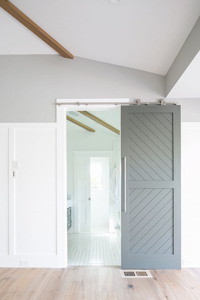Chevron Barn Door Grey Chevron Barn Door Barn Door Paint Color Sherwin Williams SW 7068 Grizzle Gray Diagonal Inset Pattern #SherwinWilliamsSW7068GrizzleGray #chevronbarndoor #chevron #barndoor SherwinWilliamsGrizzleGray SherwinWilliamsSW7068