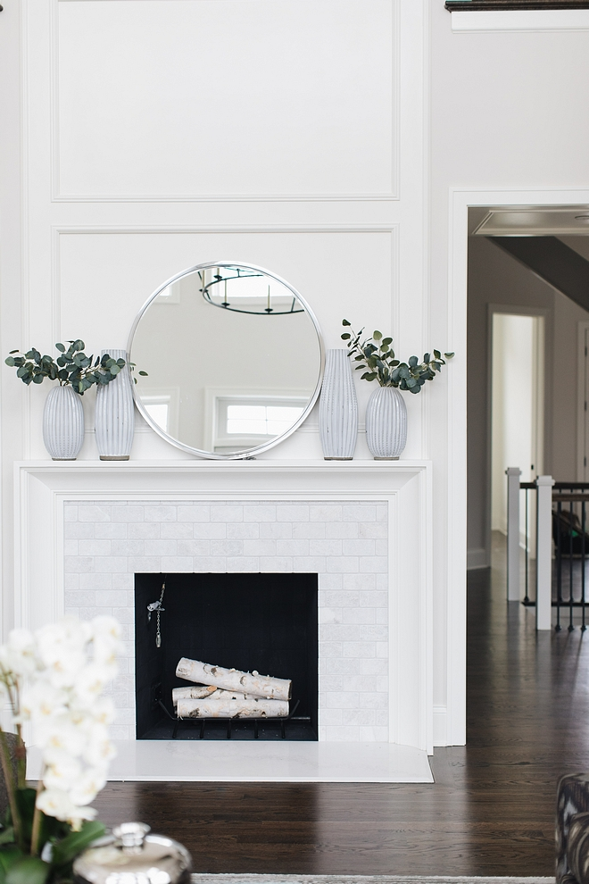 Fireplace Simplicity and symmetry enhances this timeless fireplace #Fireplace #symmetry #fireplacesymmetry