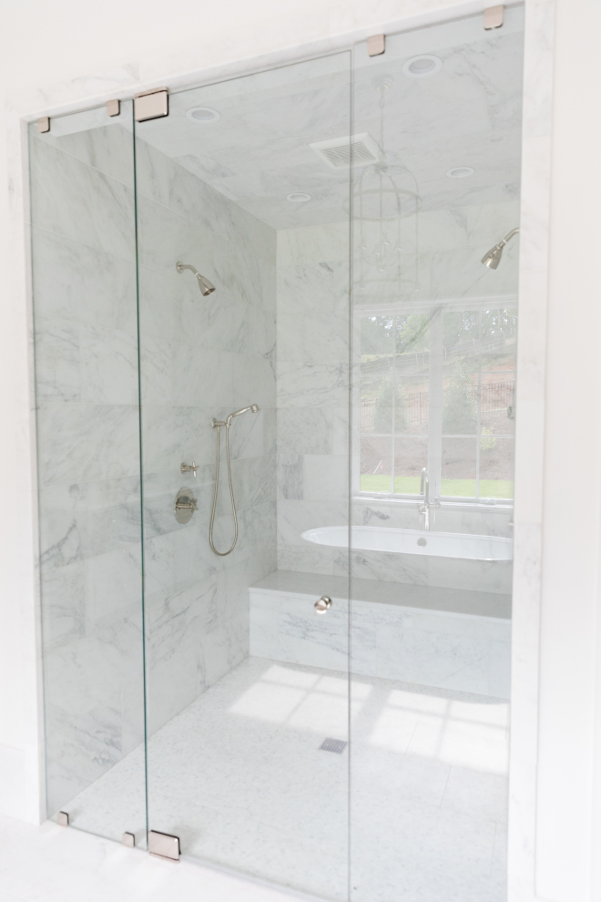 Marble Shower Large shower with wide marble tile on walls easier to clean #Marble #Shower #Largeshower #widetile #marbletile