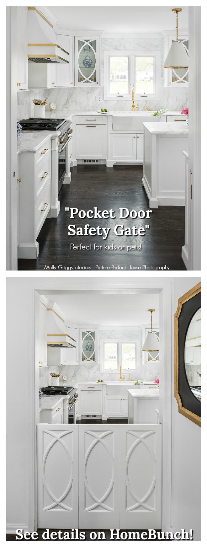 """Pocket Door Gate Pocket Door Gate This custom safety gate works the same as a """"pocket door"""" would #safetygate #pocketdoorgate #slidinggate #indoorgate #kidsgate"""