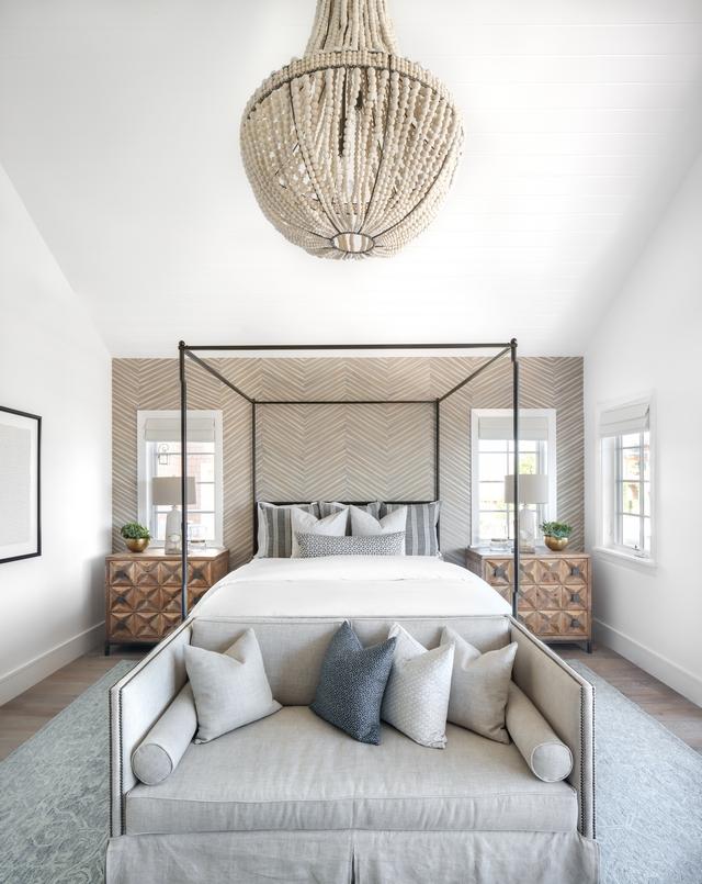 Neutral Bedroom Neutral Bedroom with chevron accent wall Neutral Bedroom decor Neutral Bedroom chandelier Neutral Bedroom bedding Neutral Bedroom decor #NeutralBedroom #NeutralBedroomdecor #Neutral #Bedroom