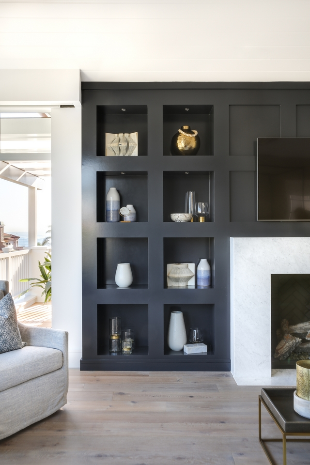 Jet Black Built-in Bookcase Jet Black Built-in Bookcase Bookcase Cabinetry Paint Grade with square detail #JetBlack #BuiltinBookcase #blackBookcase