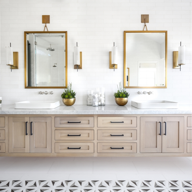 "Floating vanity Countertop is Carrara Extra Marble Slab, Polished 5"" Edge Mirrors are Restoration Hardware Pendant Mirror Finish: Brass Size: 30""W x 40""H #bathroom #floratingvanity #countertop #mirrors #pendantmirror"