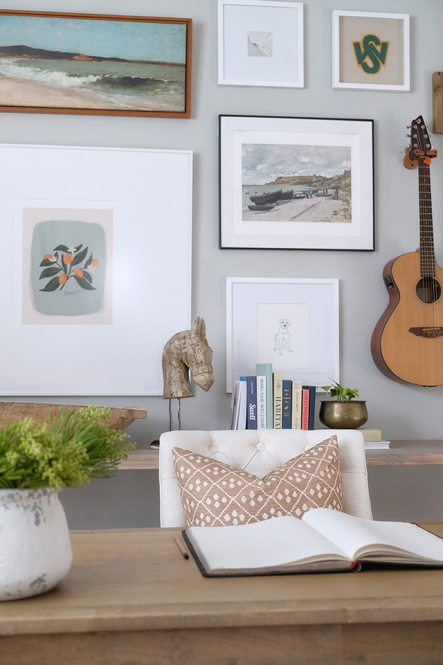 Wall Gallery While I stuck with earthy neutrals, I used this space as an opportunity to be a little more playful with color and pattern #wallgallery