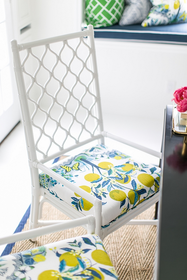 Chairs Selamat Ambrose Armchair in White The custom seat fabric is Schumacher Citrus Garden