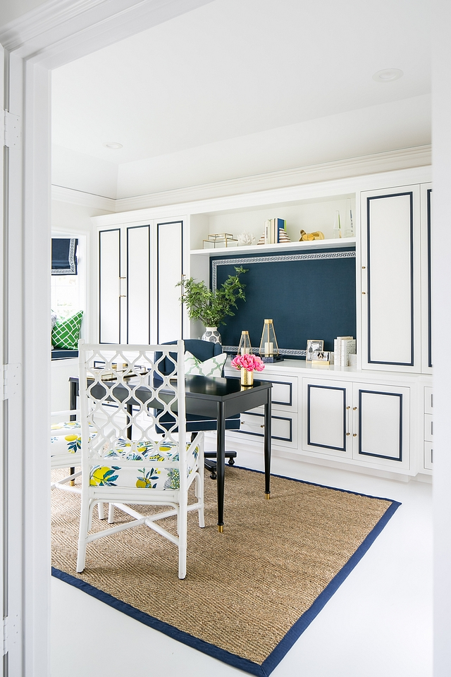 Coastal home office with custom cabinets and painted floors Home Office Ideas Feminine Home Office Blue and white home office #Homeoffice #coastal #coastalinteriors #paintedflooring #coastalhomeoffice