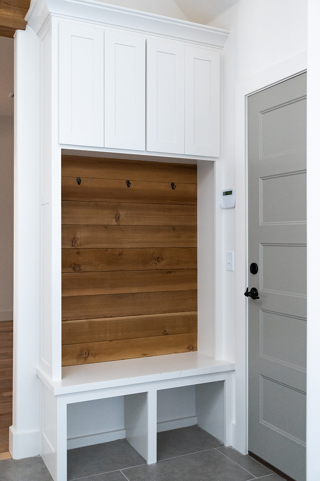 Small mudroom built in There's no excuse to not have a mudroom! This custom mudroom built-in has everything you need - even shiplap - and it fits almost anywhere #smallmudroom #smallmudroomcabinet #smallcubbies #small #mudroom