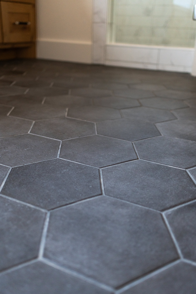 "Floor tiles are 8"" Matte Black hex Floor tiles are 8"" Matte Black hex #Floortiles #Mattehex"