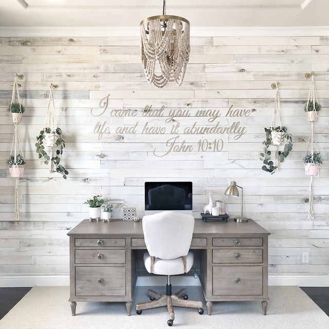 Whitewashed shiplap I recently completed a makeover in my study by adding white washed wall boards to a focal wall and I love how the transformation turned out It makes the room so bright and open Whitewashed shiplap Whitewashed shiplap #Whitewashedshiplap