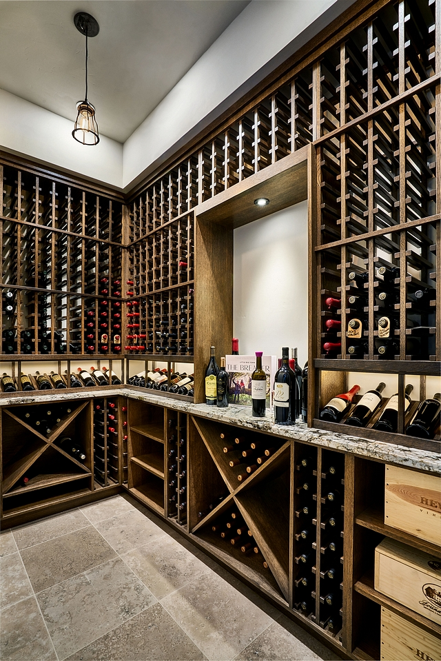 Wine Cellar wood shelves The wine cellar custom shelves are made out of Cedar with no lacquer Countertop is Granite Wine Cellar wood shelves Wine Cellar wood shelves #WineCellar #winecellarwoodshelves