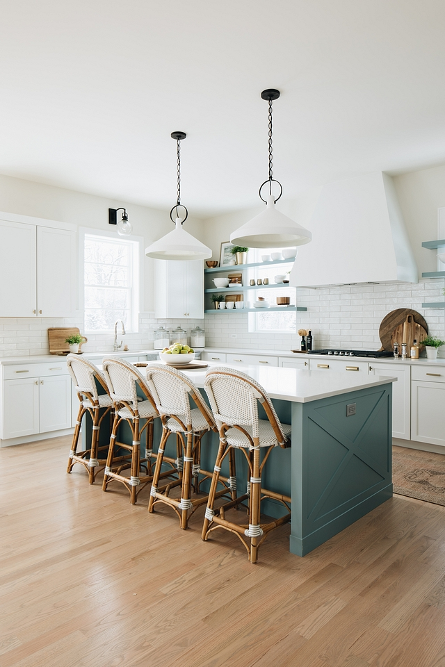 x detail kitchen island This large kitchen island is custom designed with X detail on side wing walls Blue color on Island is James River Gray by Benjamin Moore #xisland #xdetailkitchenisland #kitchenisland #Bluekitchenisland #kitchenislandpaintcolor #JamesRiverGrayBenjaminMoore